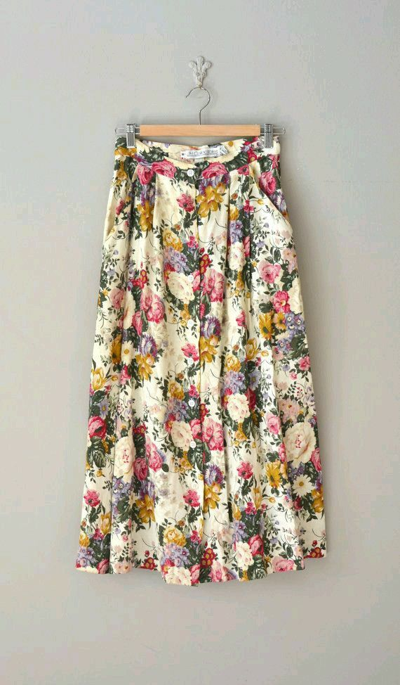 Floral button down skirt