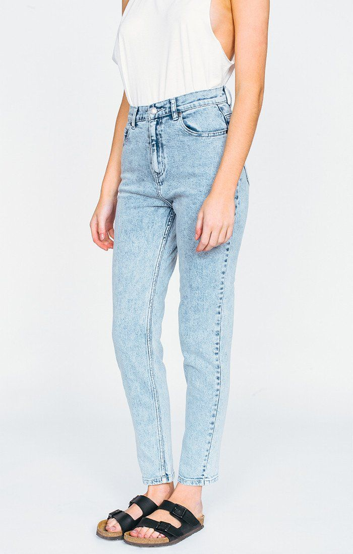 Afends LUCKIES - BLUE ACID - high waist slim jeans