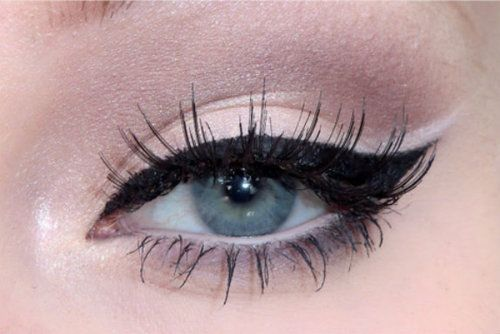 Pretty much my makeup on a daily basis.  Cat eye with liquid liner, mascara, light eyeshadow.