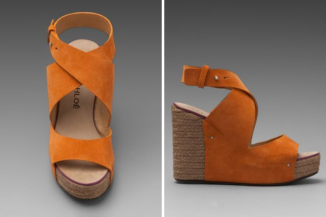 We're drooling over these chic orange espadrille wedges!