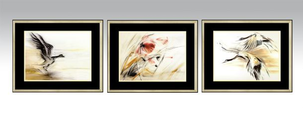 Gold Series 2 in a gold frame and black double passe-partout (Option 2).