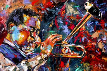 Title of painting: Dizzy's Trumpet  Colorful and Bold Original Oil painting of Dizzy Gillespie.  By Debra Hurd