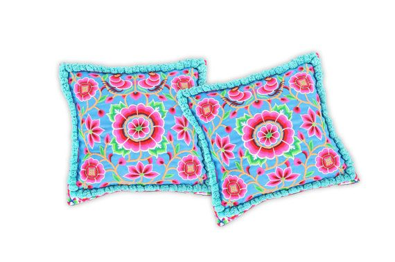 for couch with chevron carpet? - Set  2 Cushions Cover with Pom Poms  HMONG Hill by ThaiHandbags, $29.99
