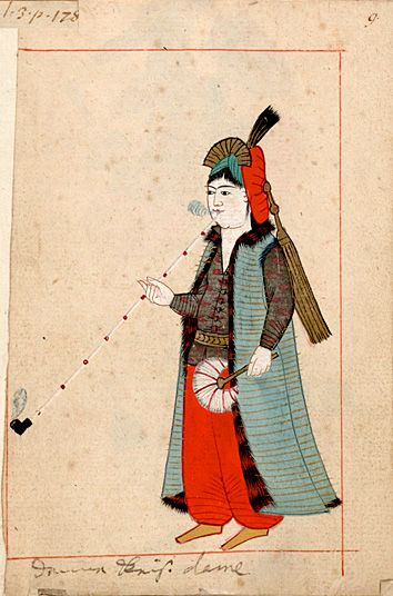 "Rålamb Costume Book 9 Court-lady smoking a pipe ""donna - Keis(erliche) dame"""