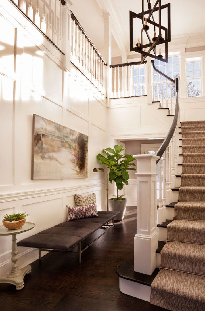 """Foyer Design Ideas. Foyer Decorating Ideas. Foyer. Foyer Furniture. Foyer Staircase. #Foyer Bench is the """"Ardmore Bench by Kasaboo Home"""" and staircase runner is the """"Masland Carpet in Stone Mist"""". Garrison Hullinger Interior Design Inc."""