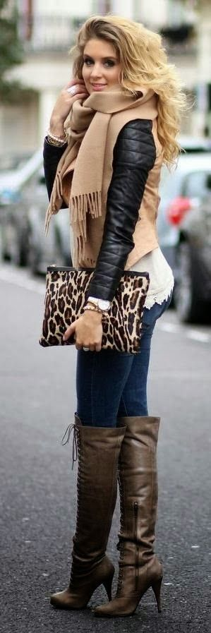 Pretty lace edging on the top. Also liking the edge of the laced-up boots & leather sleeves. Not so much the animal print bag. (28 Trendy Winter Outfit Ideas with Boots)