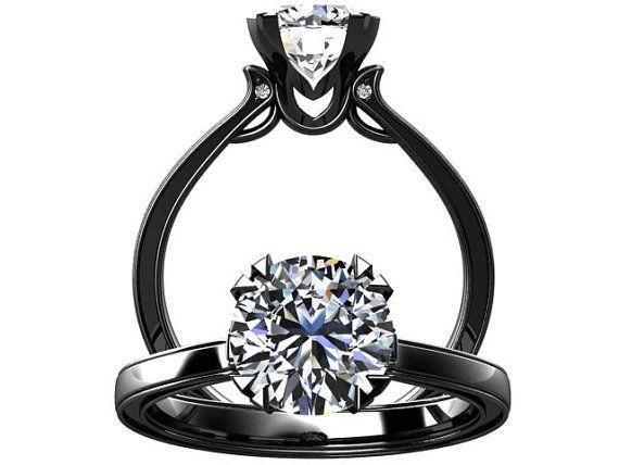 victorian inspired 14k black gold engagement ring solitare ring 100ct moissanite w17mois14bk