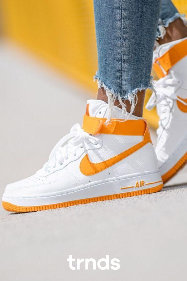 Nike Air Force 1 High White/Orange for Women   Nike air force high ...