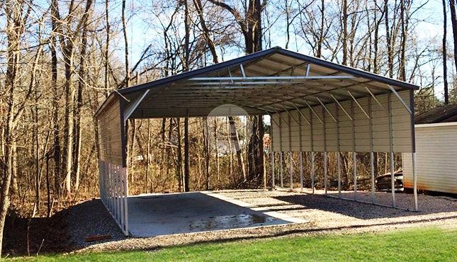 26x41 Triple Wide Carport With Side Panels Metal Carports Structure In 2020 Prefab Metal Buildings Metal Building Prices Farm Buildings