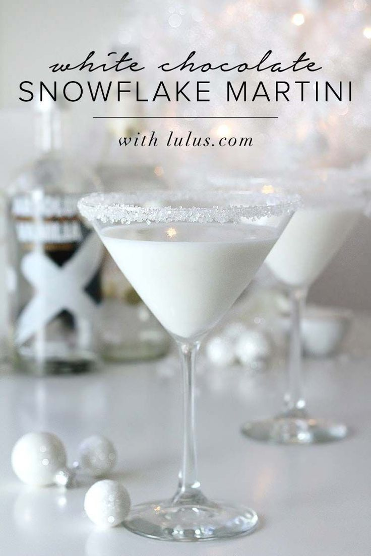 White chocolate snowflake martini Christmas candy cocktail for the holidays