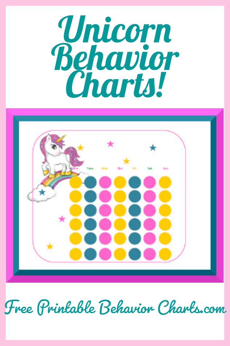 Unicorn Behavior Charts Kids Chore Chart Printable Behaviour Chart Reward Chart Kids