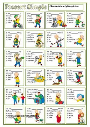 It's a multiple choice worksheet to practise the present simple. Thank you. - ESL worksheets