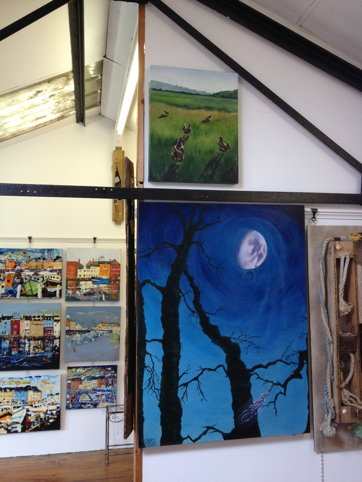 New artists in the Attic Gallery in Broadwindsor's Craft Centre, near Beaminster, West Dorset, DT8