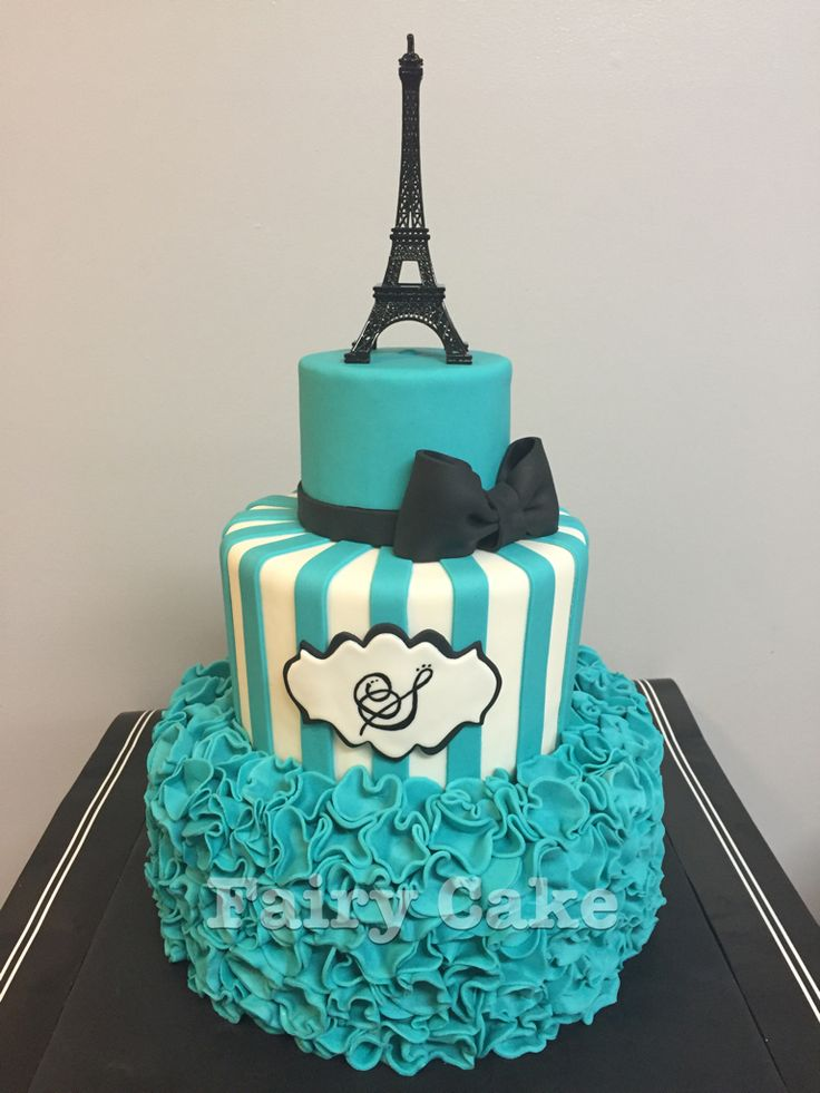 Teal, black, and white Paris themed Eiffel Tower sweet sixteen birthday cake