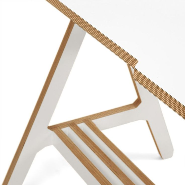 ByAlex Desk in white, close up of the Plywood detail - http://www.cimmermann.uk/shop-by-brand/byalex.html