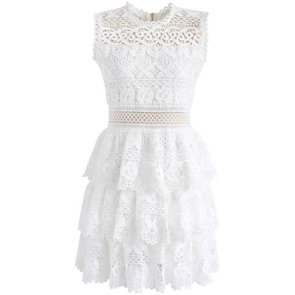 Chicwish Eudemonia in Flowers Crochet Sleeveless Dress in White (1.242.820 VND) ❤ liked on Polyvore featuring dresses, white, floral dresses, sheer dress, white sheer dress, white ruffle dress and see through dress