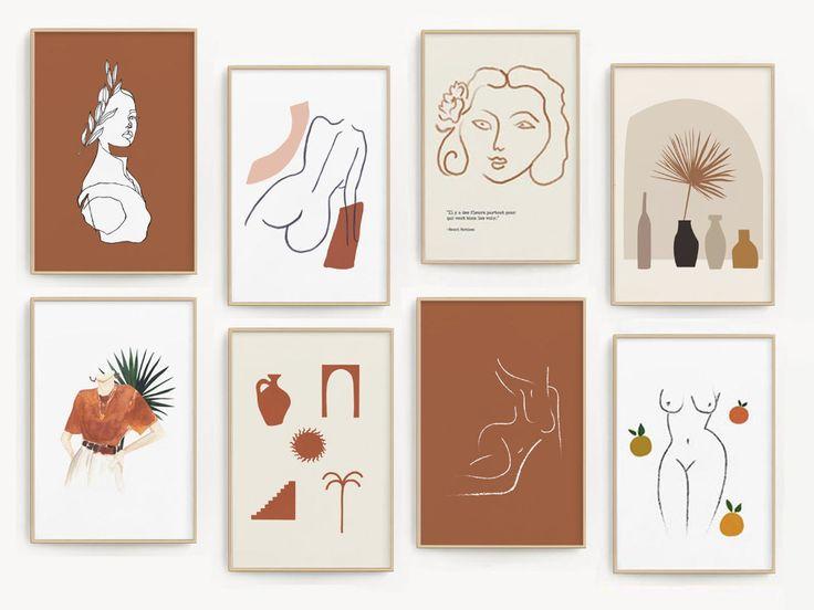 Burnt orange mega bundle printable set of 10 line drawings