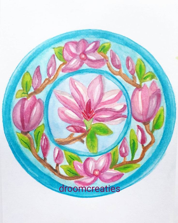 Mandala aquarel painting Magnolia ~ practicing on technics layering colours to get a 3D effect is a challenge with watercolour pencils    #mandala #mandalasharing #flowermandala #magnolia #watercolorart #watercolor #watercolour #aquarelpainting #aquarelart #aquarelart #practice #technics #3d #challenge #pencils #drawing #creative #droomcreaties