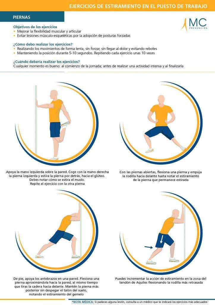Ejercicios de estiramientos de piernas. Estirar con cierta frecuencia durante tu jornada laboral puede prevenir posibles trastornos musculoesqueléticos