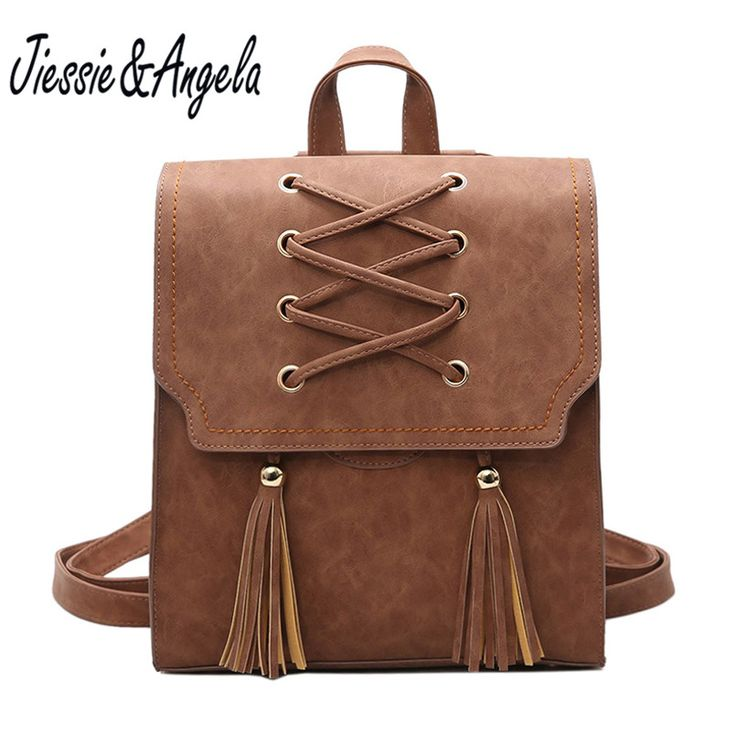 Jiessie & Angela Vintage Tassel Women Backpack Shoulder Bags Flap Backpacks For Teenage Girls High Quality Pu Leather Backpack //Price: $27.42 & FREE Shipping //     #hashtag1