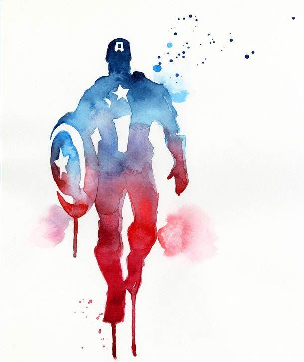 Superhéroes pintados en acuarela