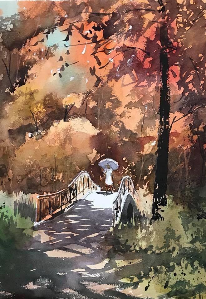 """Kazuo Kasai, """"Walk in the Natural Park Ⅲ"""" 51cm × 36cm"""