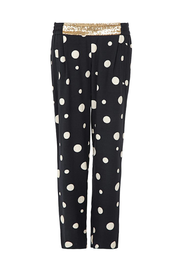 COME ALONG - relaxed fit tapered leg pant with flat front sequin embellished waistband, encased elastic back & vertical pockets.
