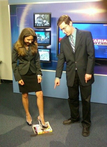 """Apparently, today is """"National Short Girl Appreciation Day!""""  Thanks Tony Lopez for letting me know.  LOL!!!  Since my size has been discussed recently, I thought I'd pull out this photo.  Fortunately, my coworkers are always looking out for me like Ariel Wesler back in our KSBY days.  #shortgirl #shortgirlappreciationday #california #ksby"""