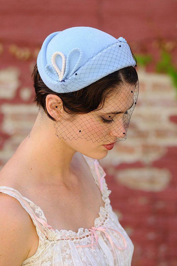 Pretty Something Blue Wedding Hat. $450