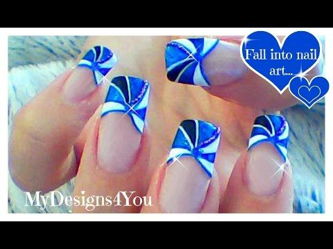 Blue French Tip Nail Art | How to Geometric Nail Design ♥ Геометрический Дизайн Френча - YouTube
