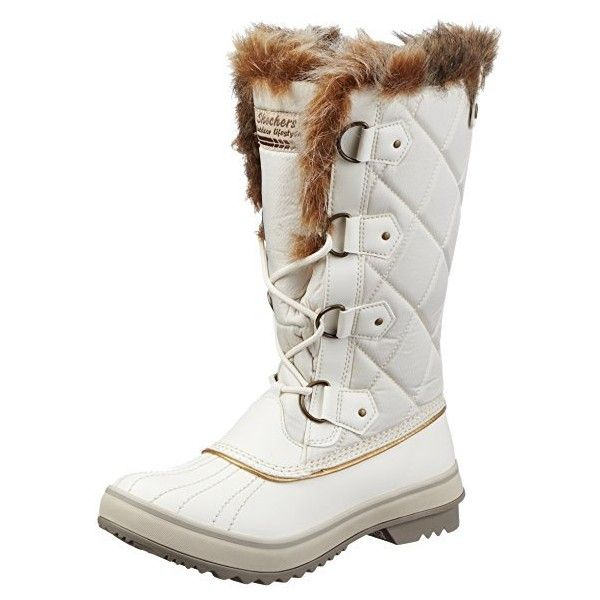 Skechers Women's Highlanders Matterhorn Mountain Snow Boots, White... ($11) ❤ liked on Polyvore featuring shoes, boots, skechers boots, white colour shoes, white shoes, skechers footwear and white snow boots