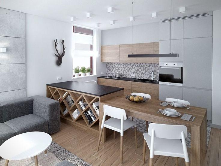 couleur pour cuisine élégante - peinture murale blanche, armoires avec façade gris clair/bois clair et accents blancs