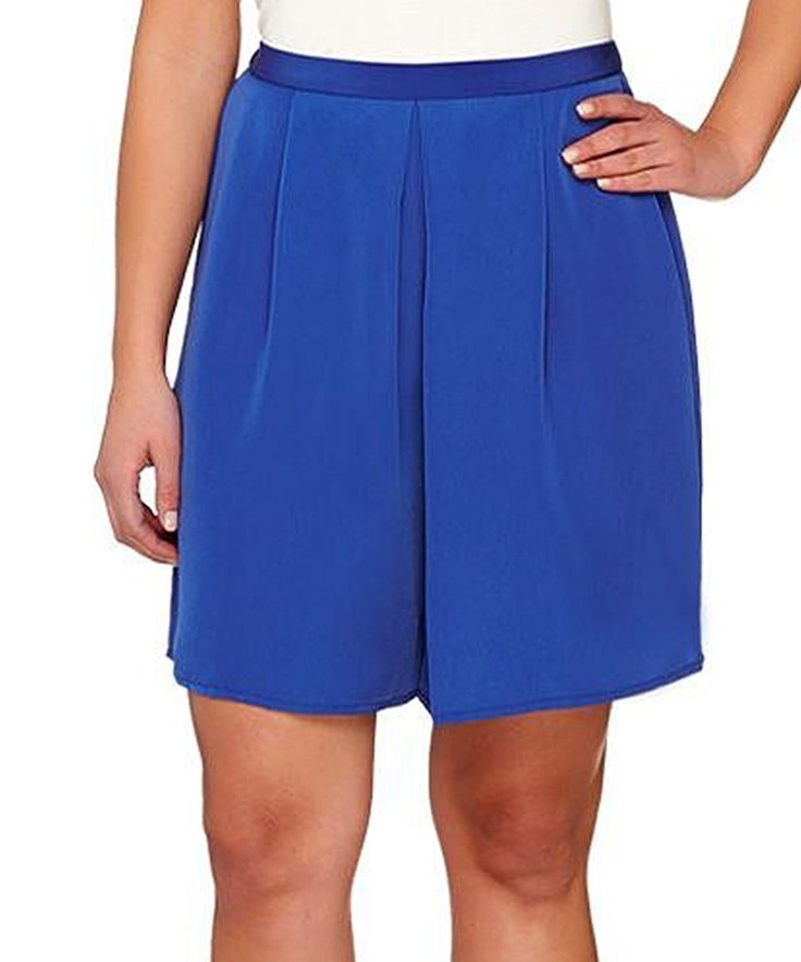 Take a look at this Susan Graver Cool Cobalt Pleated Shorts - Plus Too today!