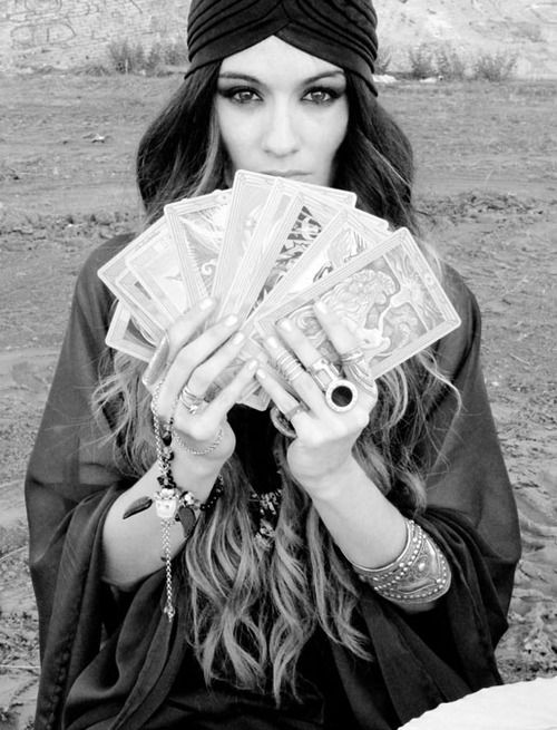 Fortune teller is a pretty easy costume: the main elements are a turban, shawl, and some taro cards.