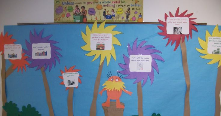 Happy Earth Day week everyone! Here is a bulletin board idea. Read The Lorax by Dr. Seuss. Talk about all the mistakes the Once-Ler made ...