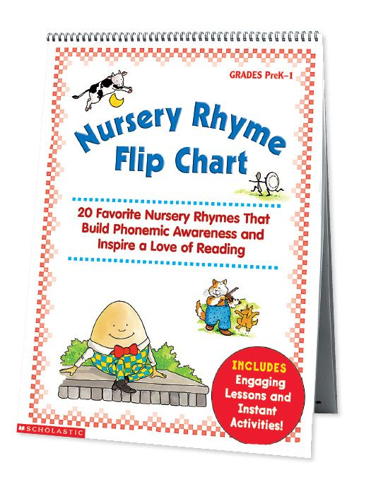 Build phonemic awareness with this big laminated chart featuring well-loved nursery rhymes and instant activities! Find the Nursery Rhyme Flip Chart in the Classroom Essentials Catalogue: OPUS 1128900 Page 55 See the pages here: http://scholastic.ca/clubs/cec/