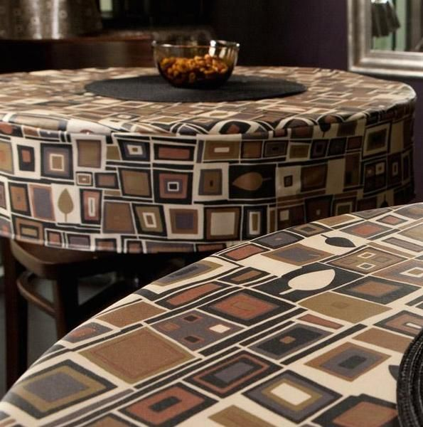 Heavy Duty Retro Print Box Fitted Vinyl Tablecloth W Flannel Back