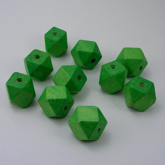 Green Faceted Cube Wooden Beads 10 Pieces (WB39) via Etsy