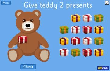 Christmas edition of Teddy Numbers counting games by Topmarks #mathgames #Christmas