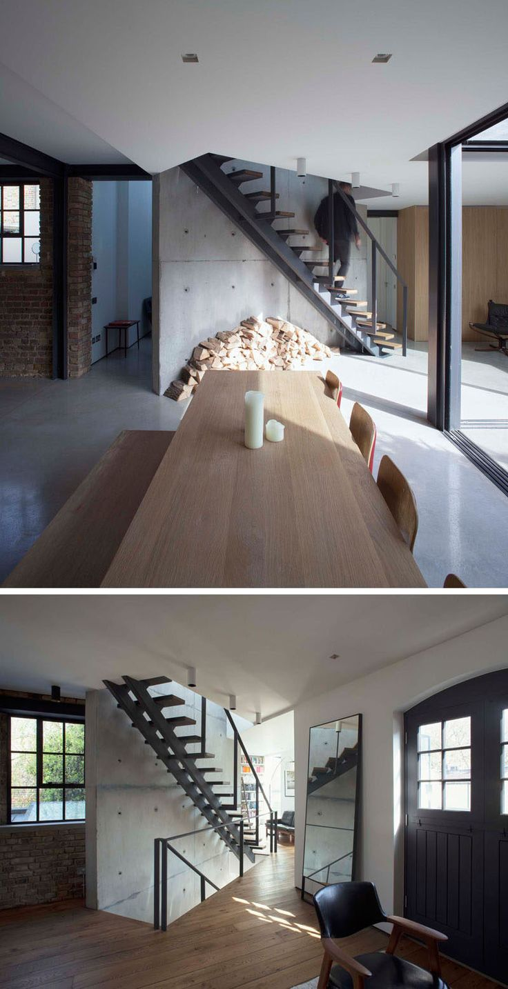 Stairs Design Idea Combine Wood And Metal For A Warm Industrial Look Escaliers Pinterest