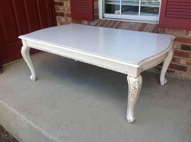 vintage coffee table with victorian legs hand painted in white