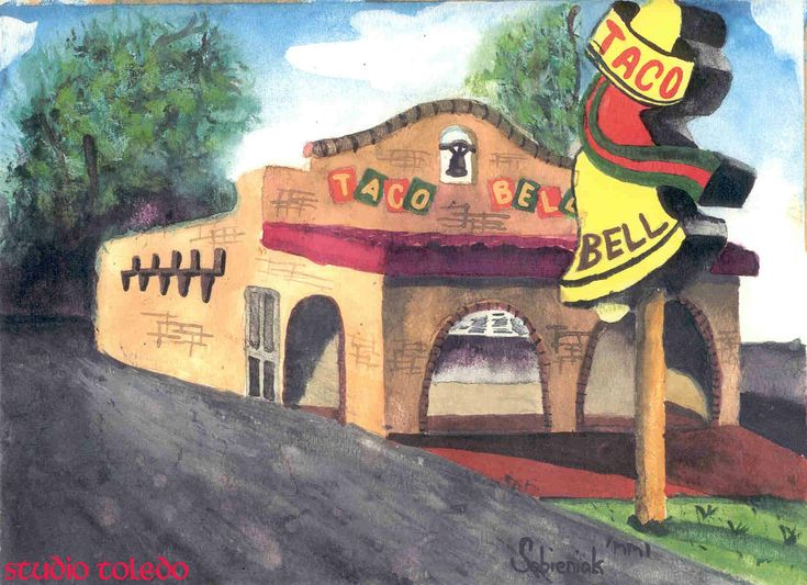 Taco Bell, cir. 1970's by studio-toledo.deviantart.com on @DeviantArt The idea for this came from seeing a picture of what a Taco Bell restaurant looked like 30-40 years ago from a magazine, and I fondly remember the days when the logo on the sign was like that myself, and for no reason, I broke out the goache paint set I bought at a nearby Michaels and went to work on doing a painting using that pic as a reference, but subtracting and adding a few things inbetween.
