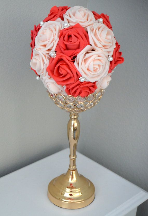 124 best brooch bouquet images on pinterest bling wedding coral and pink blush flower ball with bling pearl brooch kissing ball pomander wedding centerpiece flower girl bridesmaid bouquet junglespirit Images