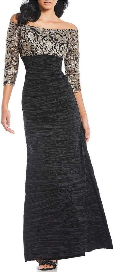 35e337d23753 Alex Evenings Off-the-Shoulder Embroidered Empire Waist Dress  Shoulder  Evenings