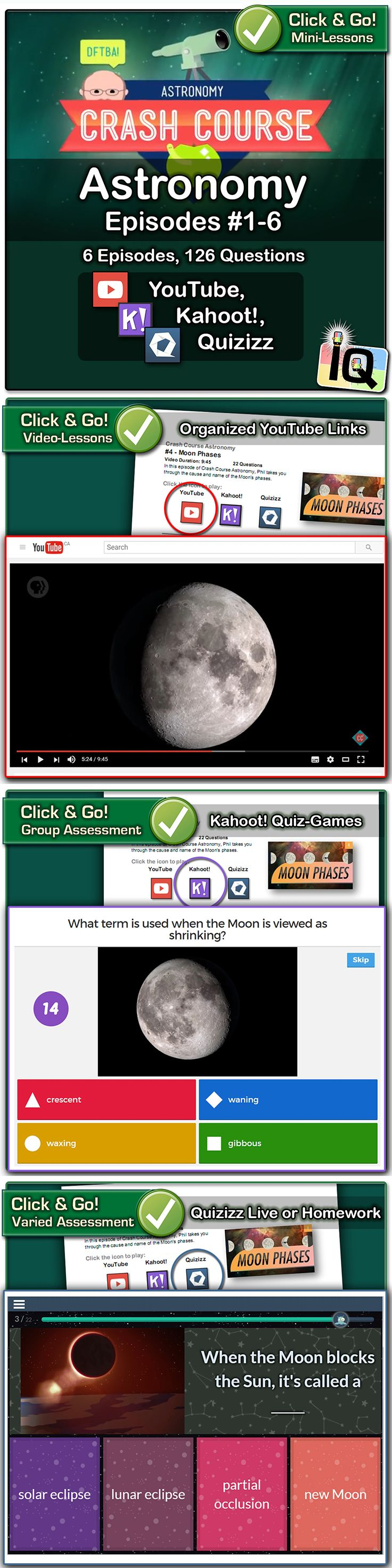 Just point and click to teach about moon phases, eclipses, and telescopes!