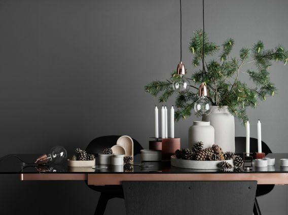 Make your Christmas dinning table a state of art;  Monza Table - smoked glass; espresso oak, copper   Copper Lotus Pendants;