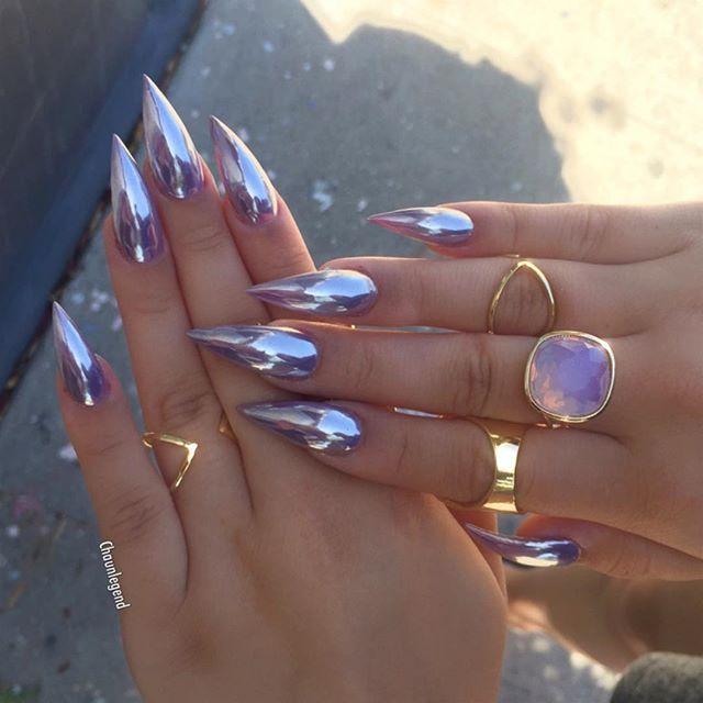 Purple chrome nail art