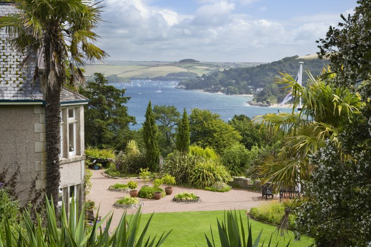 View over the Salcombe Estuary with the house and garden at Overbeck's, Devon © National Trust/Andrew Butler