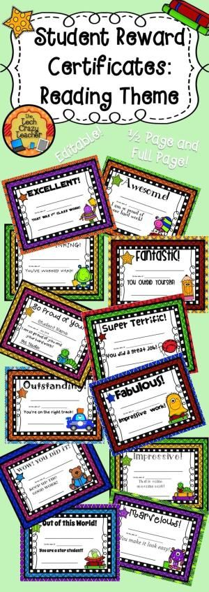 Motivation and rewards are important in a classroom. Students love receiving reward certificates for their achievements. Even more, they love taking their certificates home and showing them to their parents! This set includes 12 different certificates. Each comes in a full page or half page size. Each is completely editable! Just type in the student name, date, and your name. Print and send home! $ by sondra