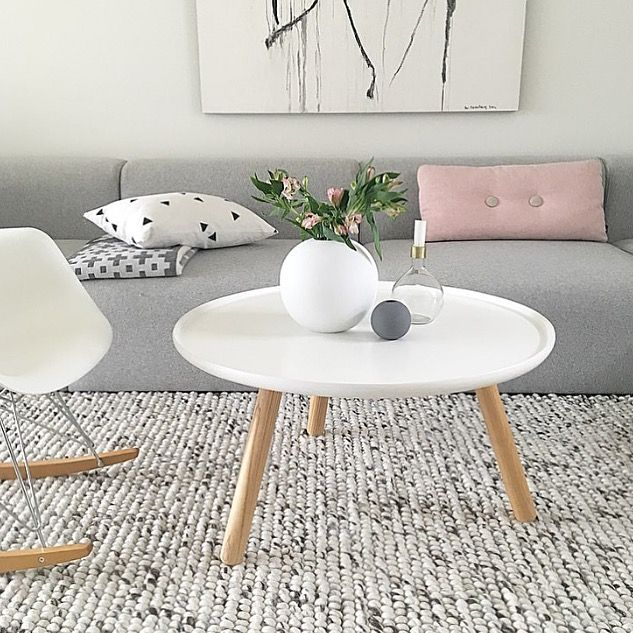 A beautiful grey, white and pink living room. Cooee Ball Vase available online. Image @casa_lene